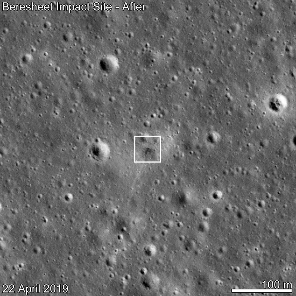 SpaceIL Beresheet crash site as seen by LROC eleven days after the attempted landing. Date in lower left indicates when the NAC image was acquired,