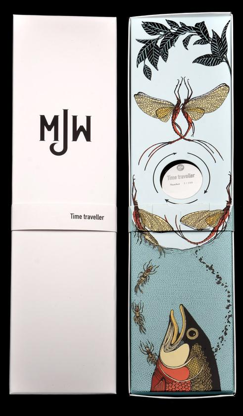 The Time Traveler watch comes in packaging that shows the life of the mayfly