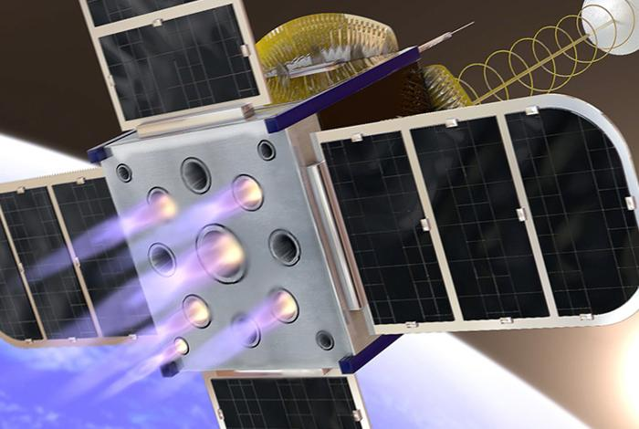 An artist's rendering of the CubeSat'snew onboard propulsion system concept.