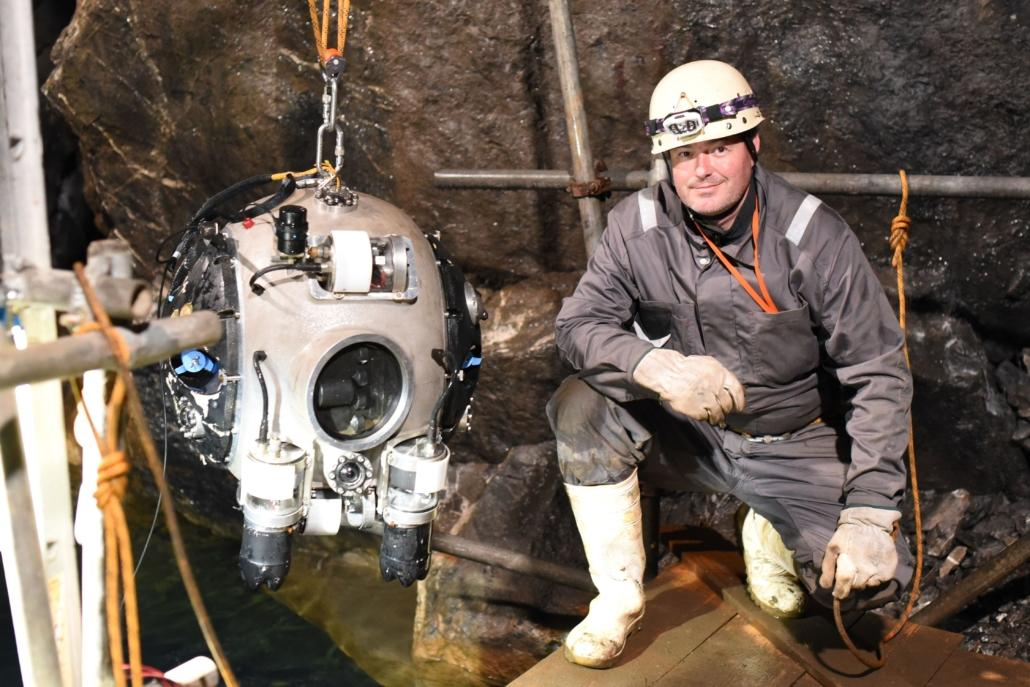 UNEXMIN project coordinator Norbert Zajzon with the UX-1, at Britain's Ecton mine