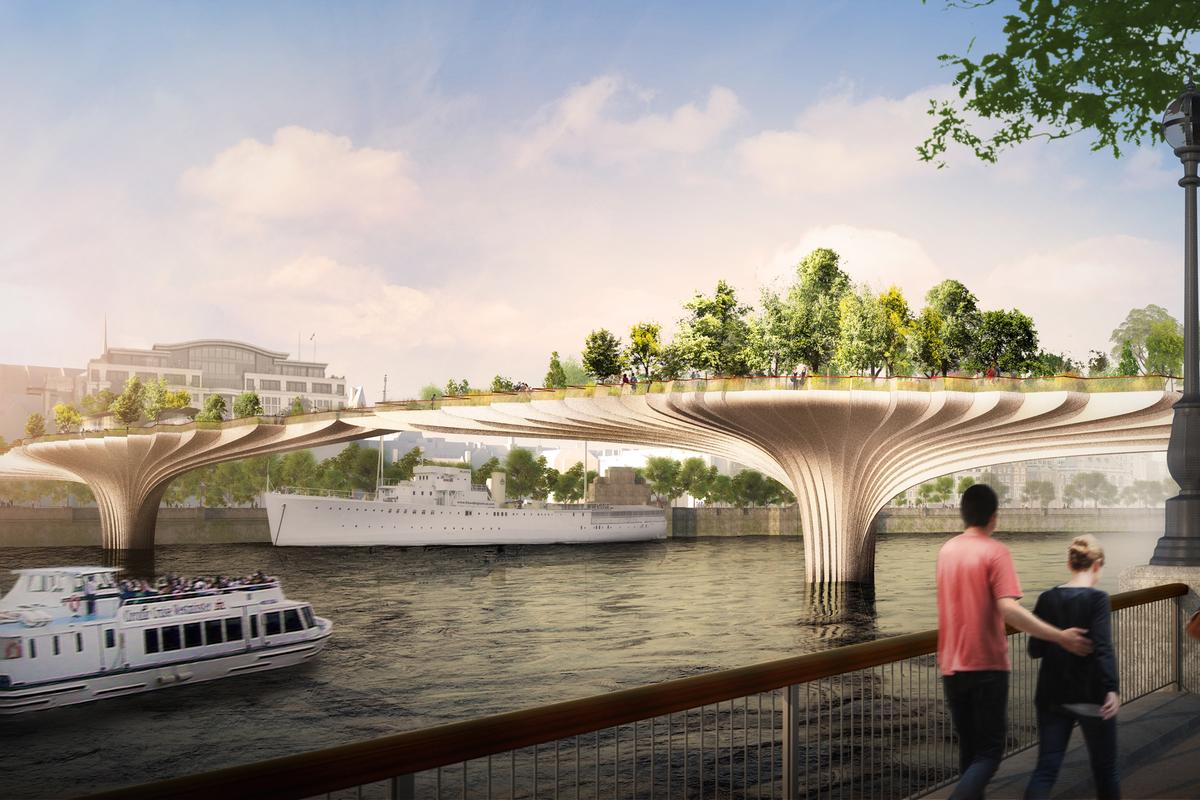 Thomas Heatherwick's vision of a garden bridge across the Thames (Image: Heatherwick Studio)
