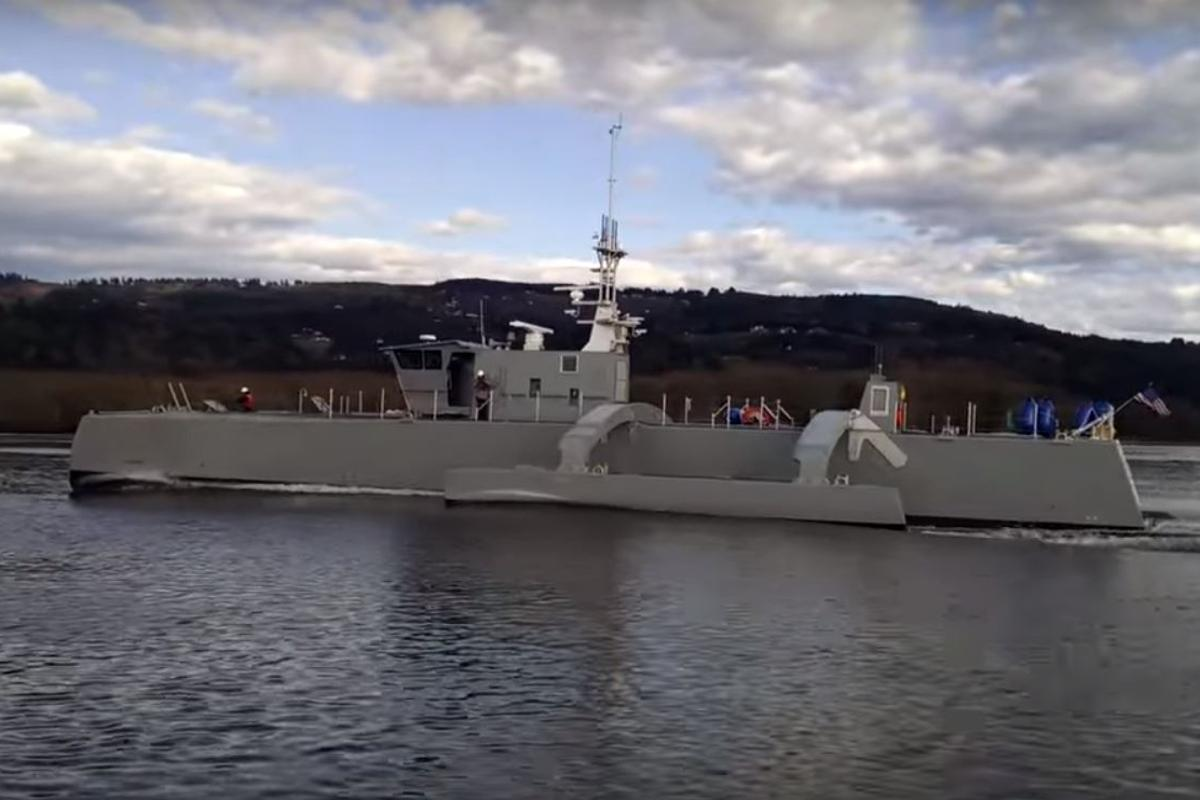 Sea Hunter undergoing speed trials in March
