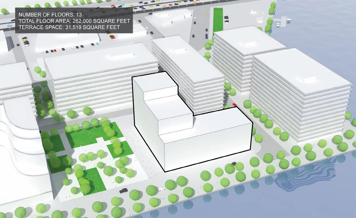 Still in the proposal stage at present, the building is envisioned for Toronto's Bayside development