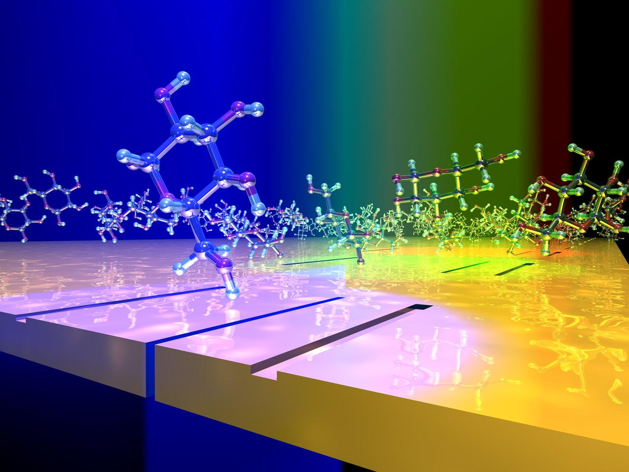 A depiction of glucose molecules moving across the surface of a plasmonic interferometer
