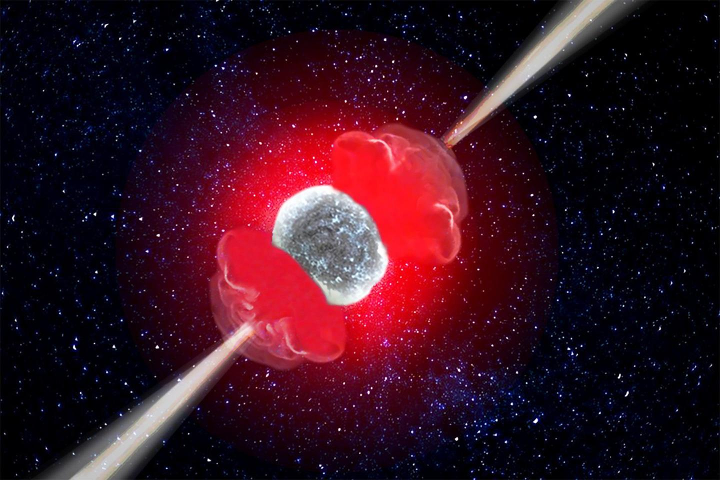 An artist's illustration of a hypernova, a type of stellar explosion up to 10 times more energetic than a supernova