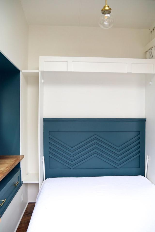 The Pacific Harmony's dining room includes aMurphy bed, turning the space into a bedroom