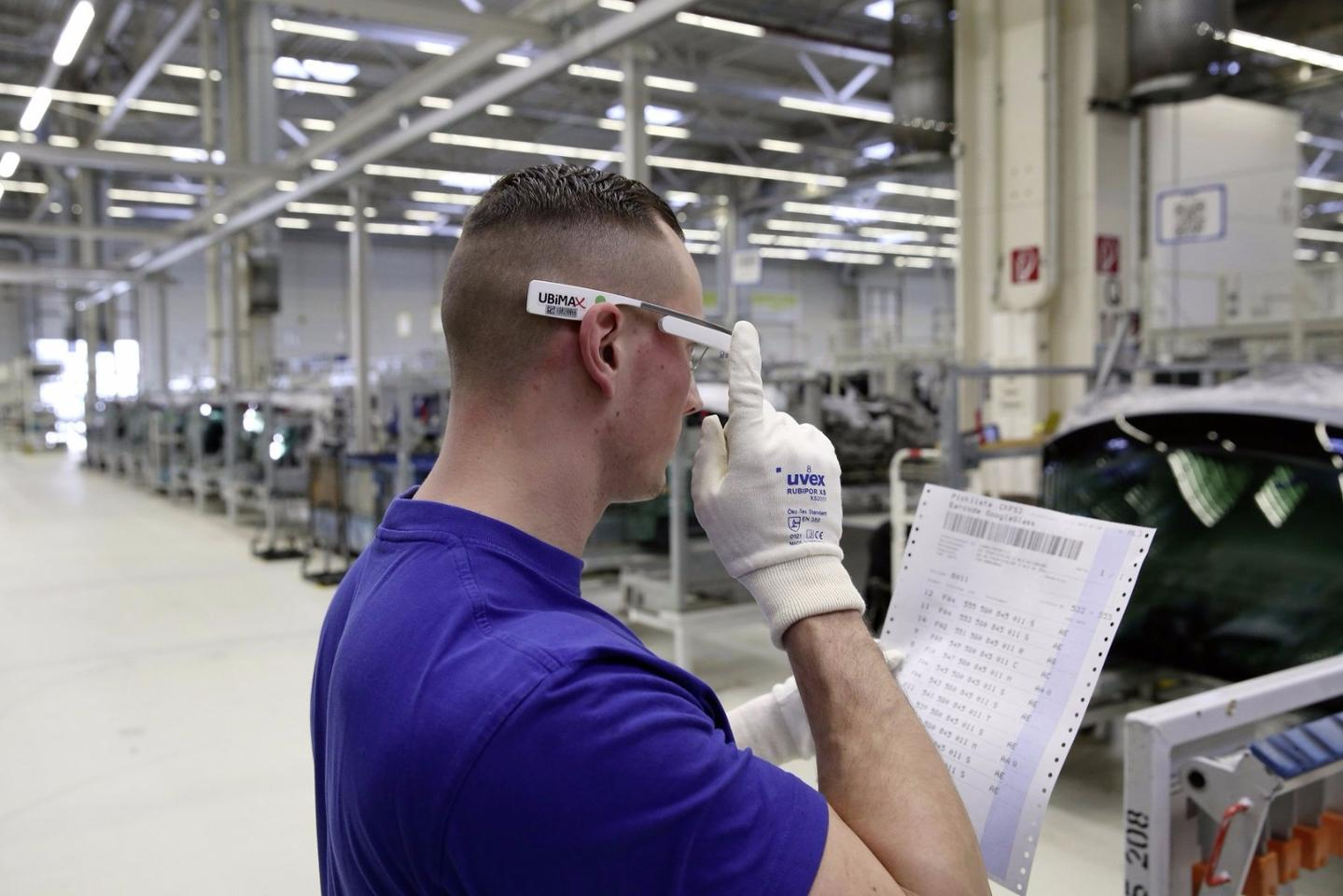 The glasses present relevant information within the user's field of vision, and have an integrated barcode reader that identifies whether or not the correct parts have been taken from storage locations