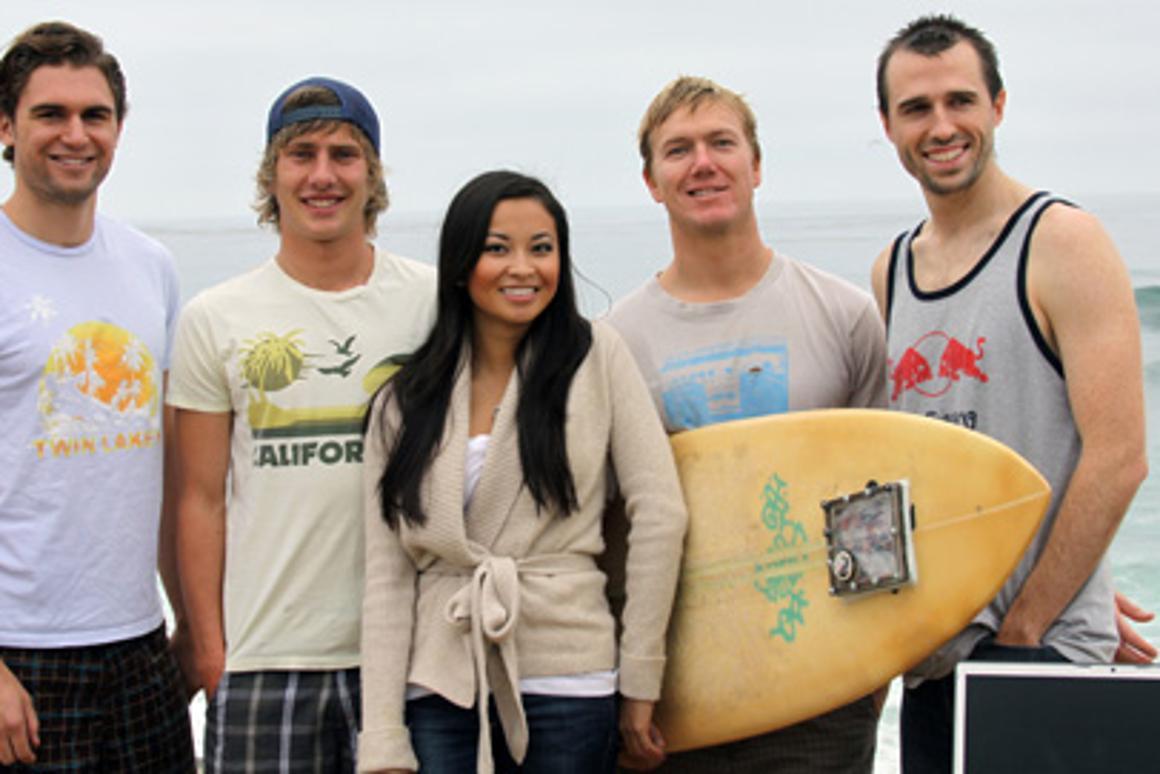 The science-of-surfboards team, left-to-right: Mechanical engineering undergraduates Victor Correa Schneider, Trevor Owen, Julia Tsai, Dan Ferguson; structural engineering PhD student Benjamin Thompson
