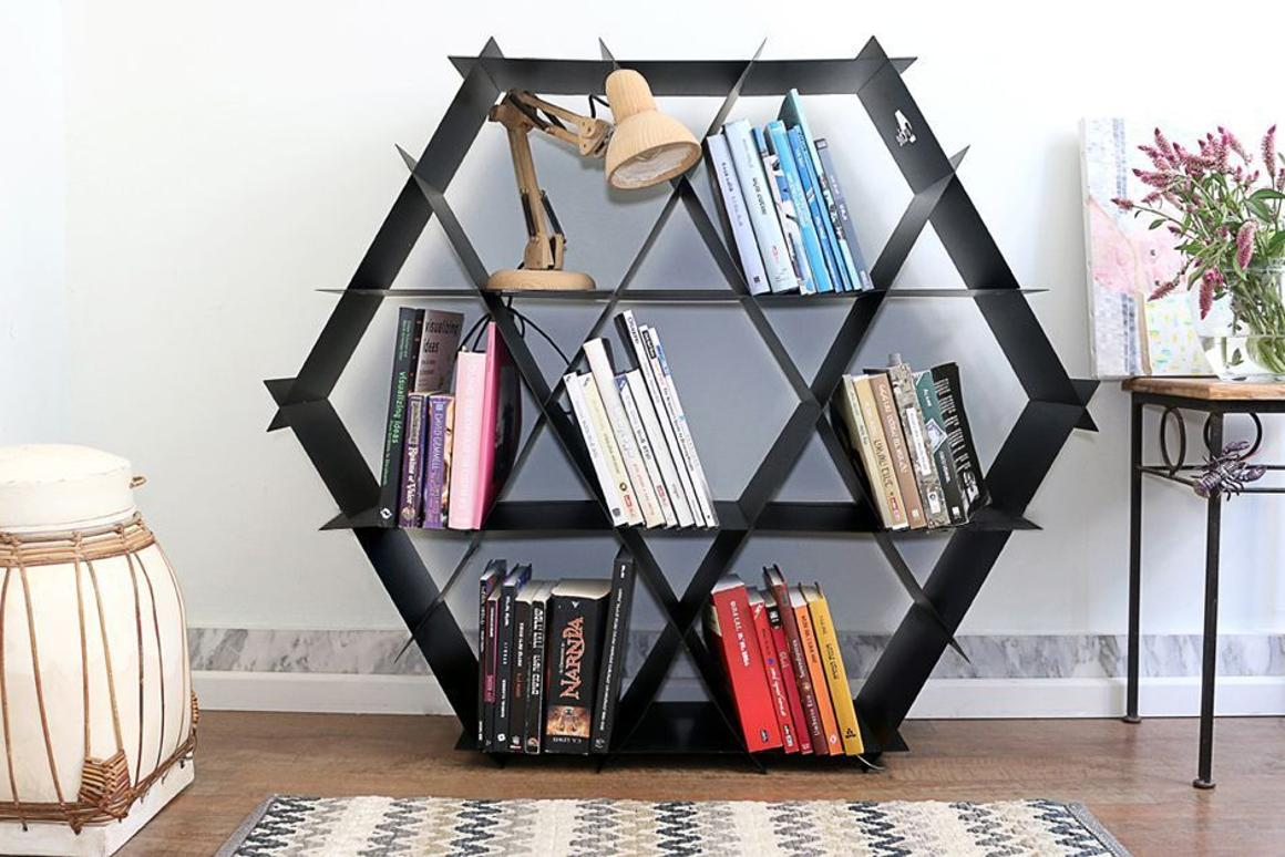 Ruche, the French word for beehive, is a unique, adaptable shelving unit for the home or office