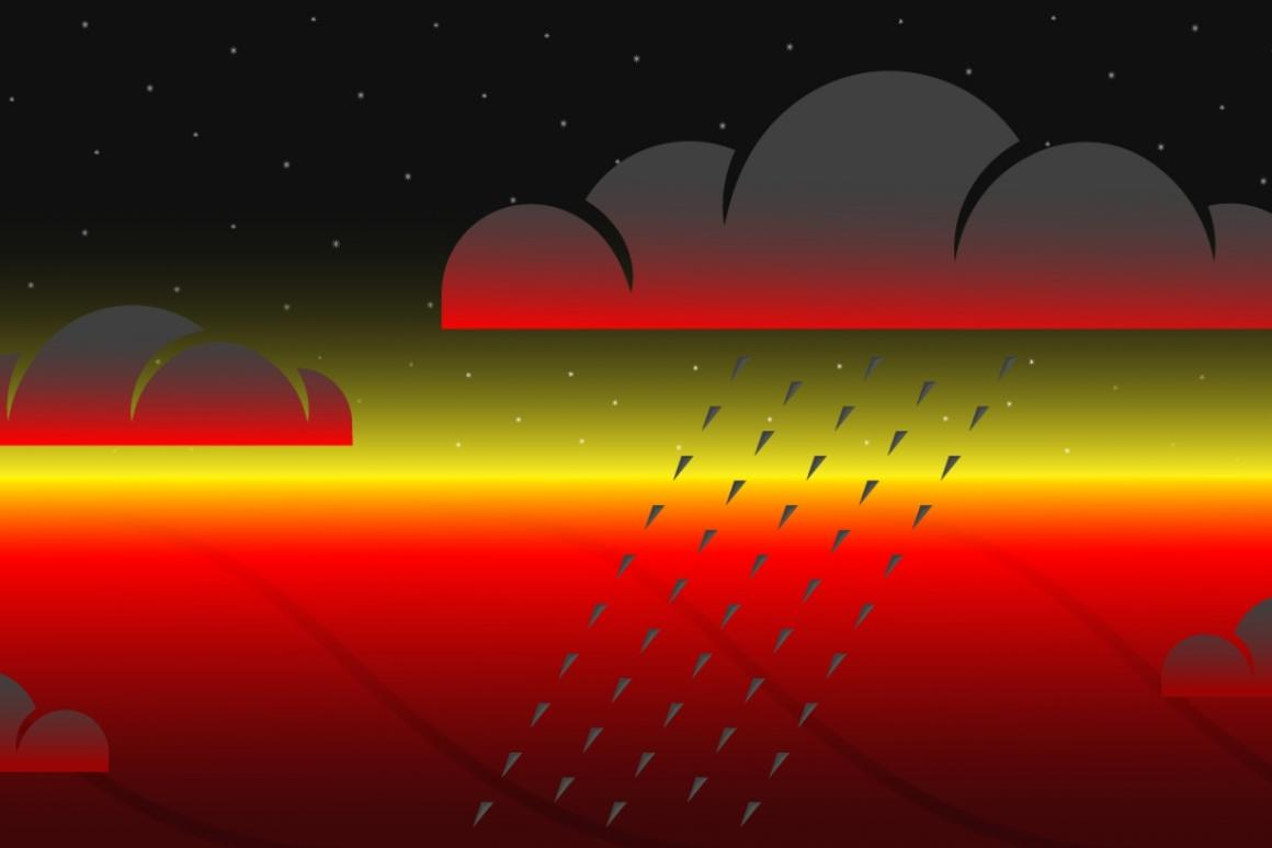 An illustration of condensed rock clouds on the night side of hot Jupiter exoplanets