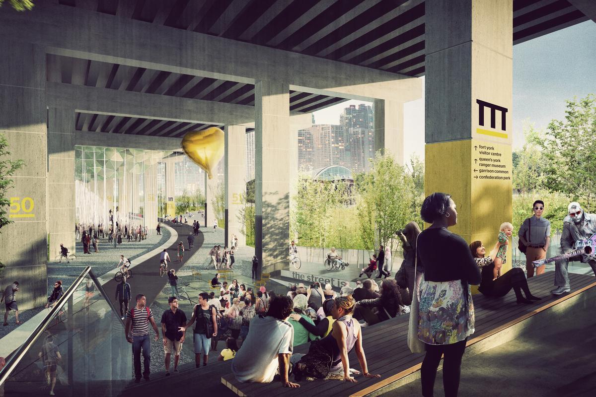 Under Gardiner will be a new public park that will run for a 1.75 km (1.09 mi) below an expressway