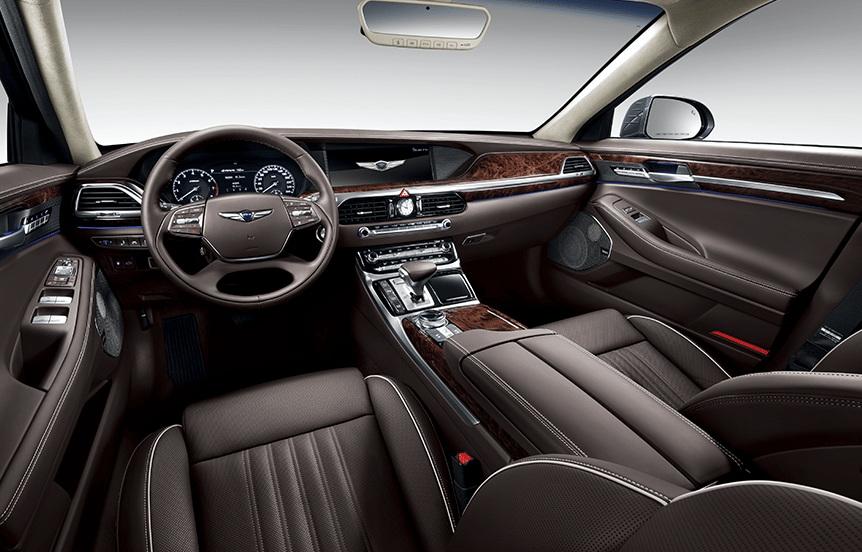 The Genesis G90's interior is all about soft leather and polished wood