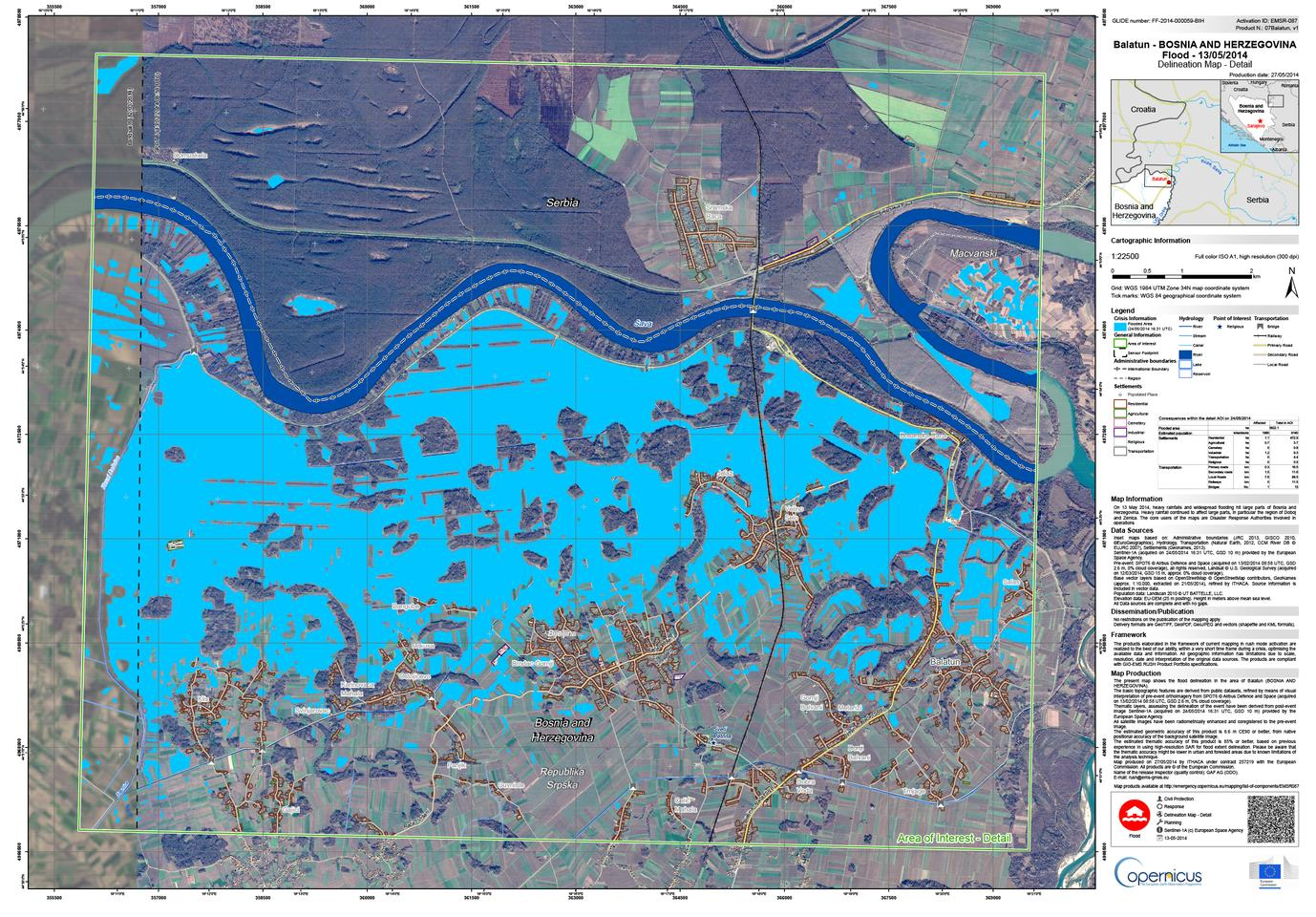Flood map of the village of Balatun in northeastern Bosnia and Herzegovina, created with data from Sentinel-1A (Image: ESA/European Commission)