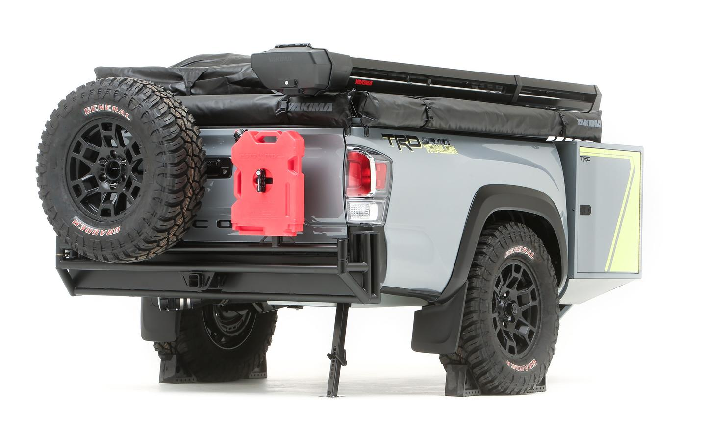 The TRD-Sport trailer includes a swing-away rear tire holder and mounted fuel canister