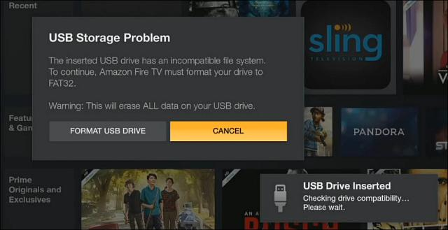 The Fire TV will format your usb flash drive