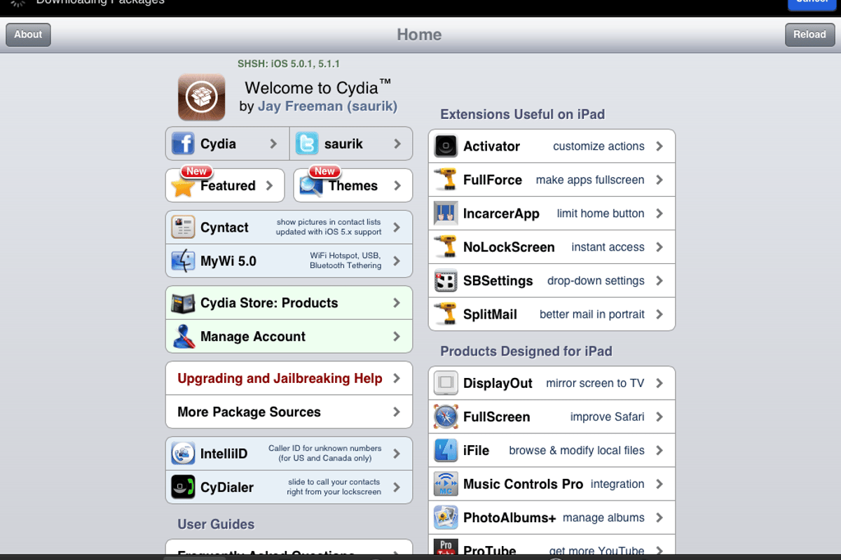 Cydia on an iPad 2 running iOS 5.1.1