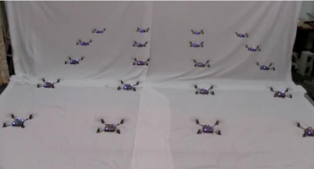 Twenty quadrotors fly in formation at the University of Pennsylvania's GRASP lab