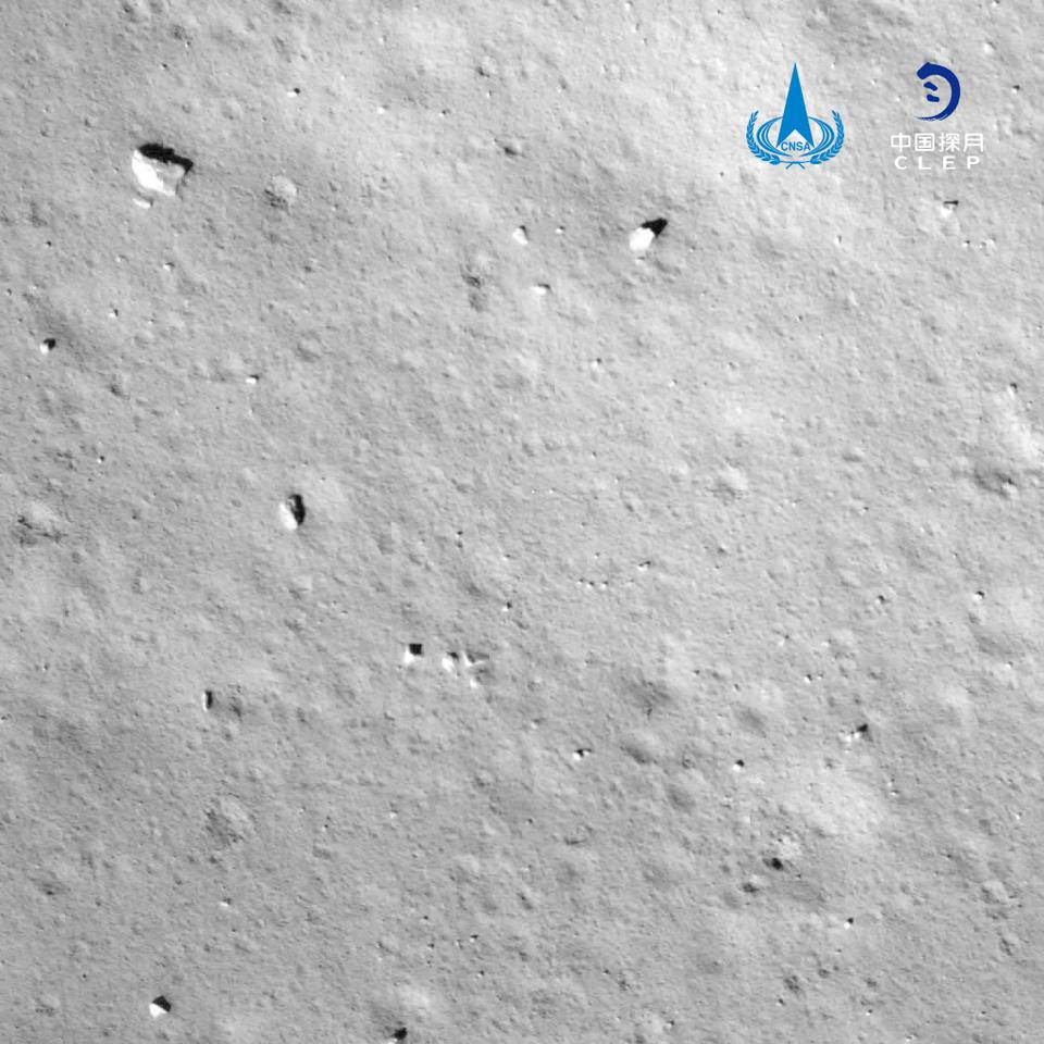 View from the Chang'e-5's lander module as it approached the surface of the Moon