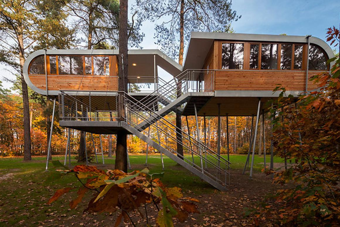 Four Belgian companies have commissioned the construction of a modern treehouse conference center by Baumraum architects