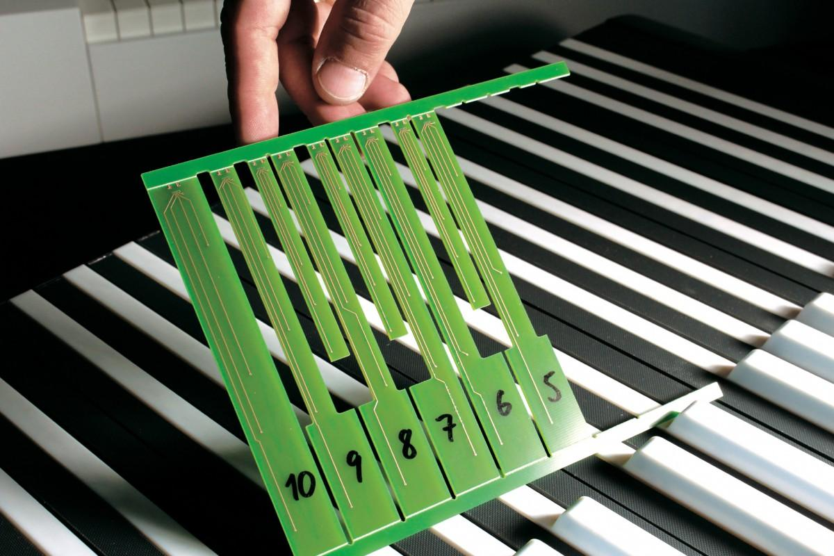 The electronics beneath each key allow the playing character of the MPiano to be adjusted