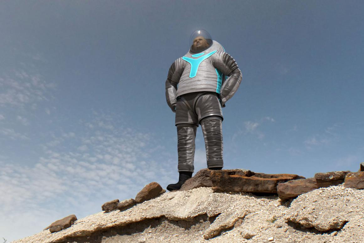 The winning Technology design harkens back to more conventional spacesuits, but with some sci-fi elements added (Image: NASA)