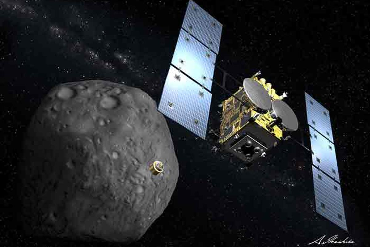 "Artist's impression of the Hayabusa-2 spacecraft dropping its copper ""bomb"" on asteroid 1999 JU3 (Image: JAXA)"