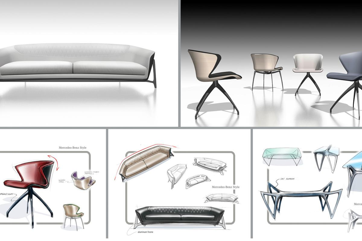 The initial Mercedes Benz Style Furniture Collection comprises one sofa, chaise longue, sideboard, dining room table with chairs, shelf unit with integrated home theatre system, bed and chest of drawers