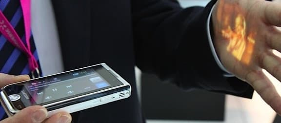 Like this cellphone, cameras from Asia Optical will soon feature TI's DLP Pico projection module