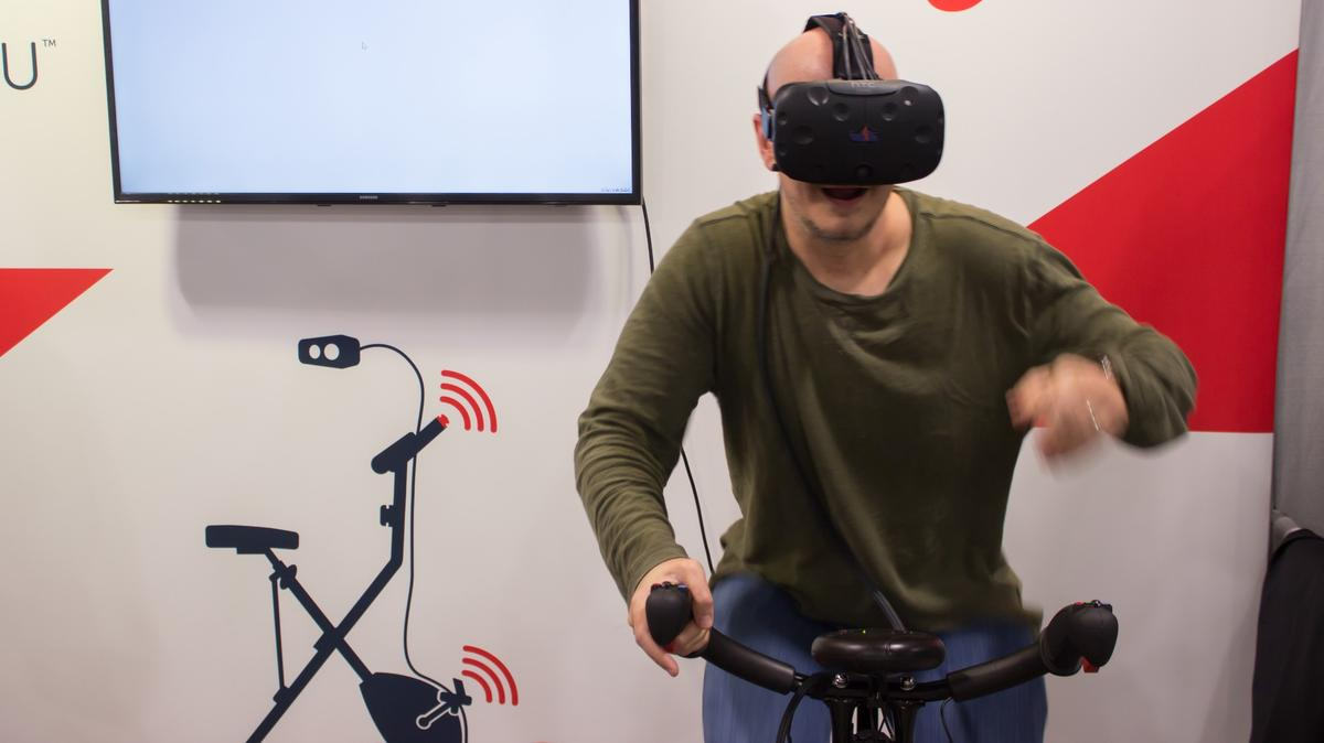VirZoom is a stationary bike that uses the three big (upcoming) VR headsets to gamify and distract