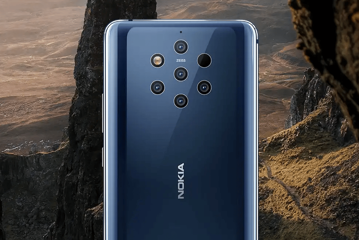 The Nokia 9 PureView has an unusual arrangement of five cameras on the back (the other two spots are the flash and depth sensor)