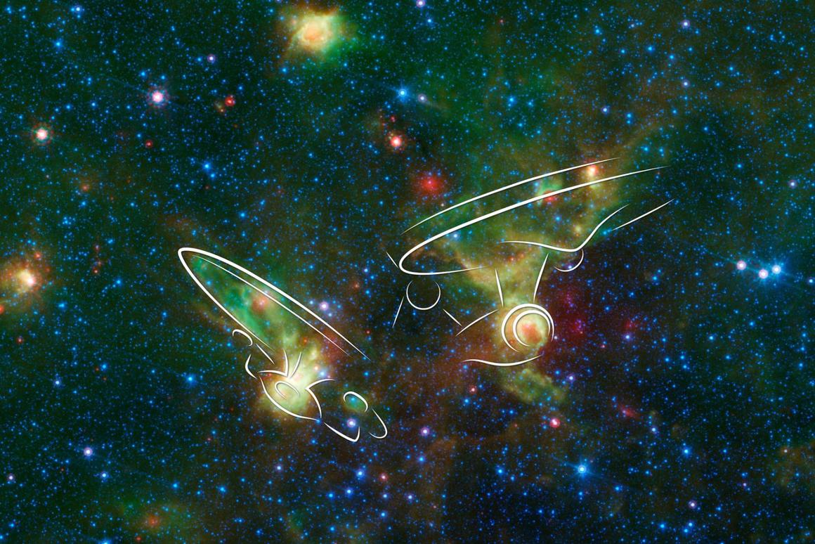 The Enterprise nebulae resemble spacecraft from the television series Star Trek