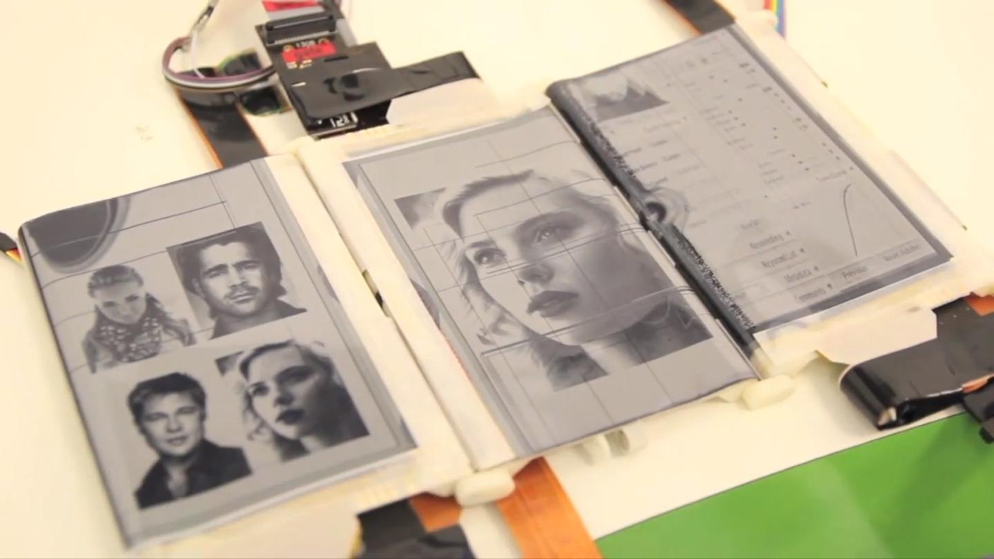 The PaperFold smartphone prototype allows up to three separate E-Ink displays to be combined into various shapes
