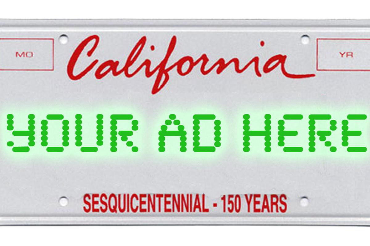 California drivers could soon have another distraction to deal with in the form of digital license plates displaying ads