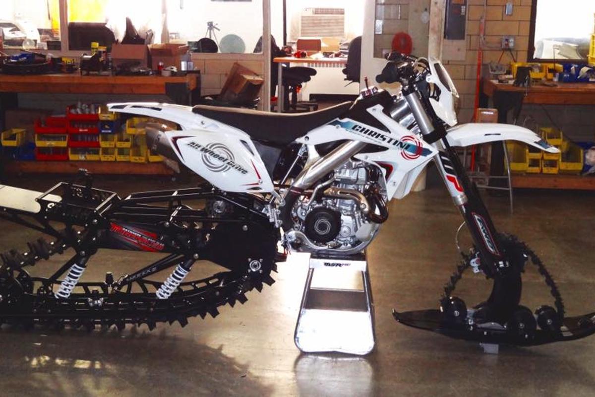 Christini's II-Track Snow Bike system, ready to roll