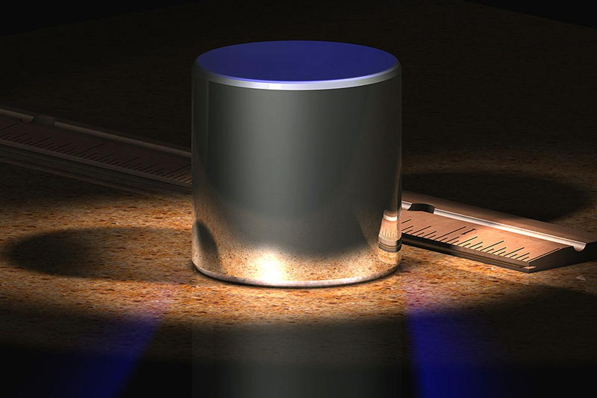 A rendering of the platinum-iridium cylinder, that currently defines the weight of a kilogram (Image: Greg L)