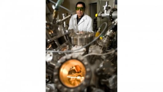 Nuclear engineer Ahmed Hassanein in his Purdue lab (Photo: Vincent Walter)