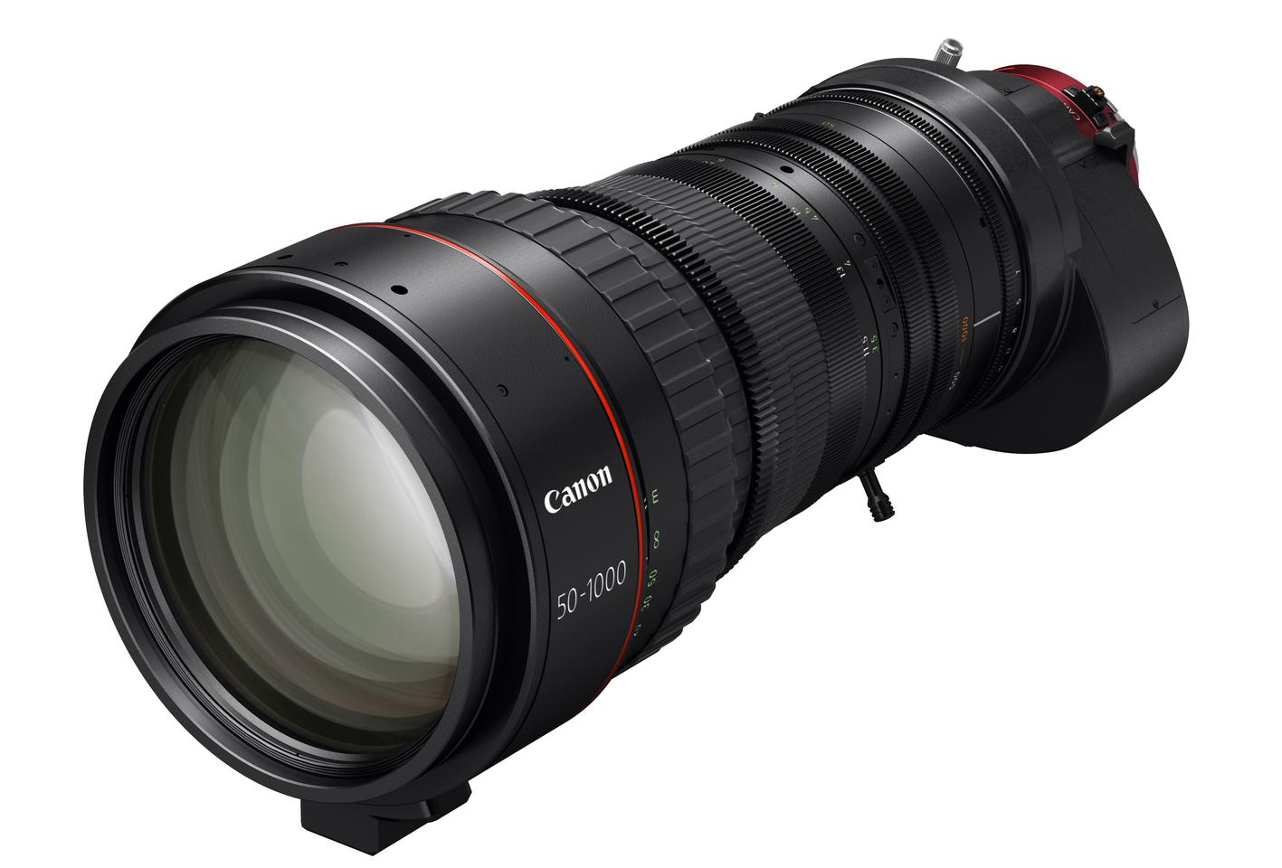 The Canon CN20x50 cine-servo lens offers a native 50-1000-mm focal range, which is extendable to 75-1500-mm with a built-in extender