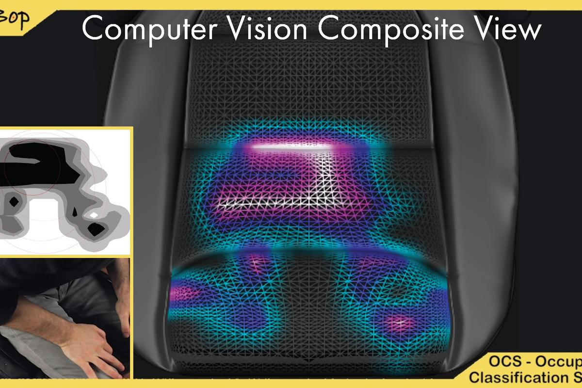 A composite view of what the BeBop smart material senses when someone is sitting in a car seat