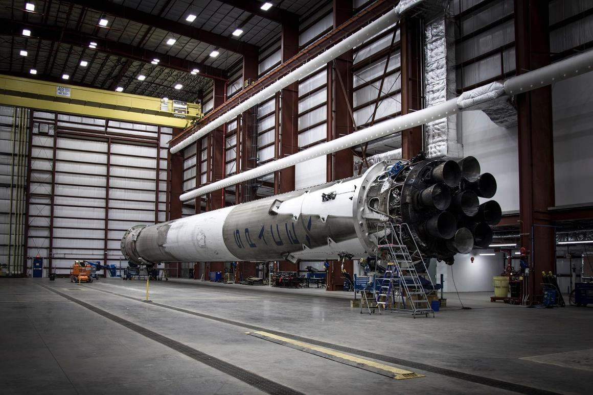The Falcon 9 shown in hanger after its historic landing
