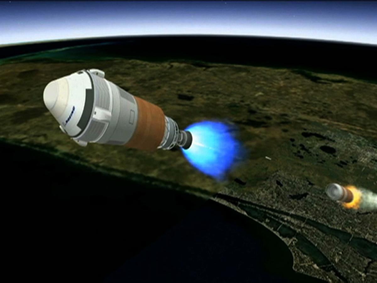 Artist's concept of the CTS-100 and the Atlas V upper stage