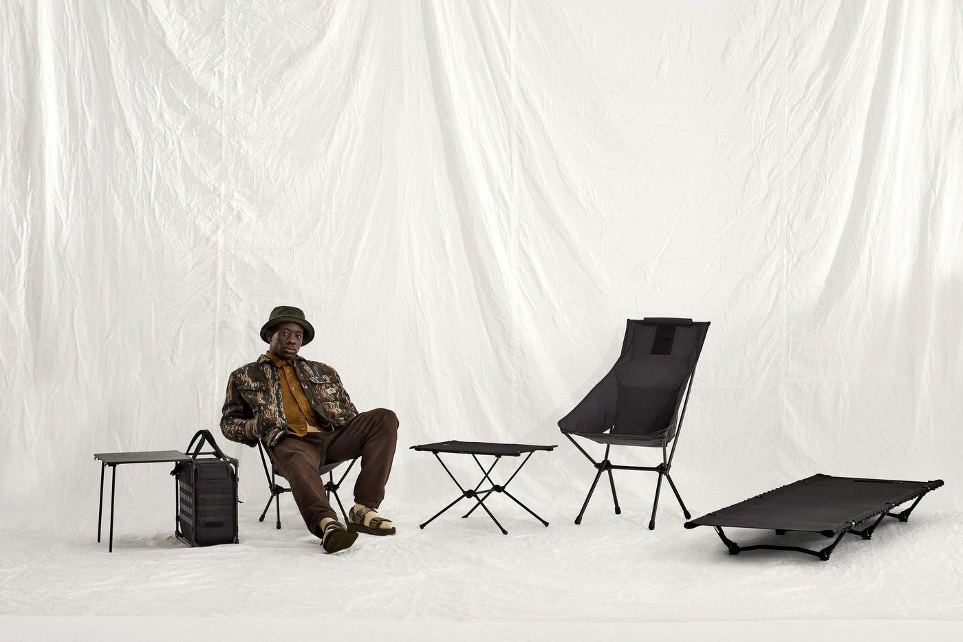Helinox's field office (far left) is part of the new Tactical line that also includes a table, two chair styles and a cot