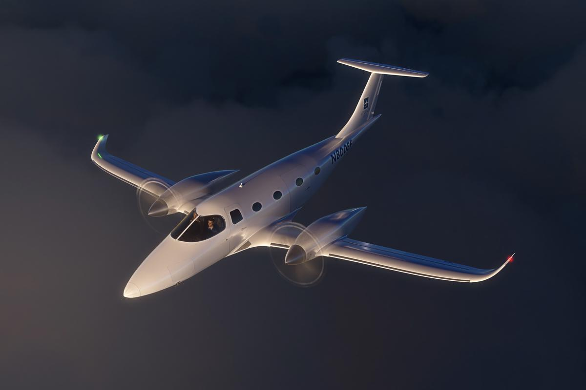 A rendering of the Bye Aerospace eFlyer 800, which may be available within four to six years