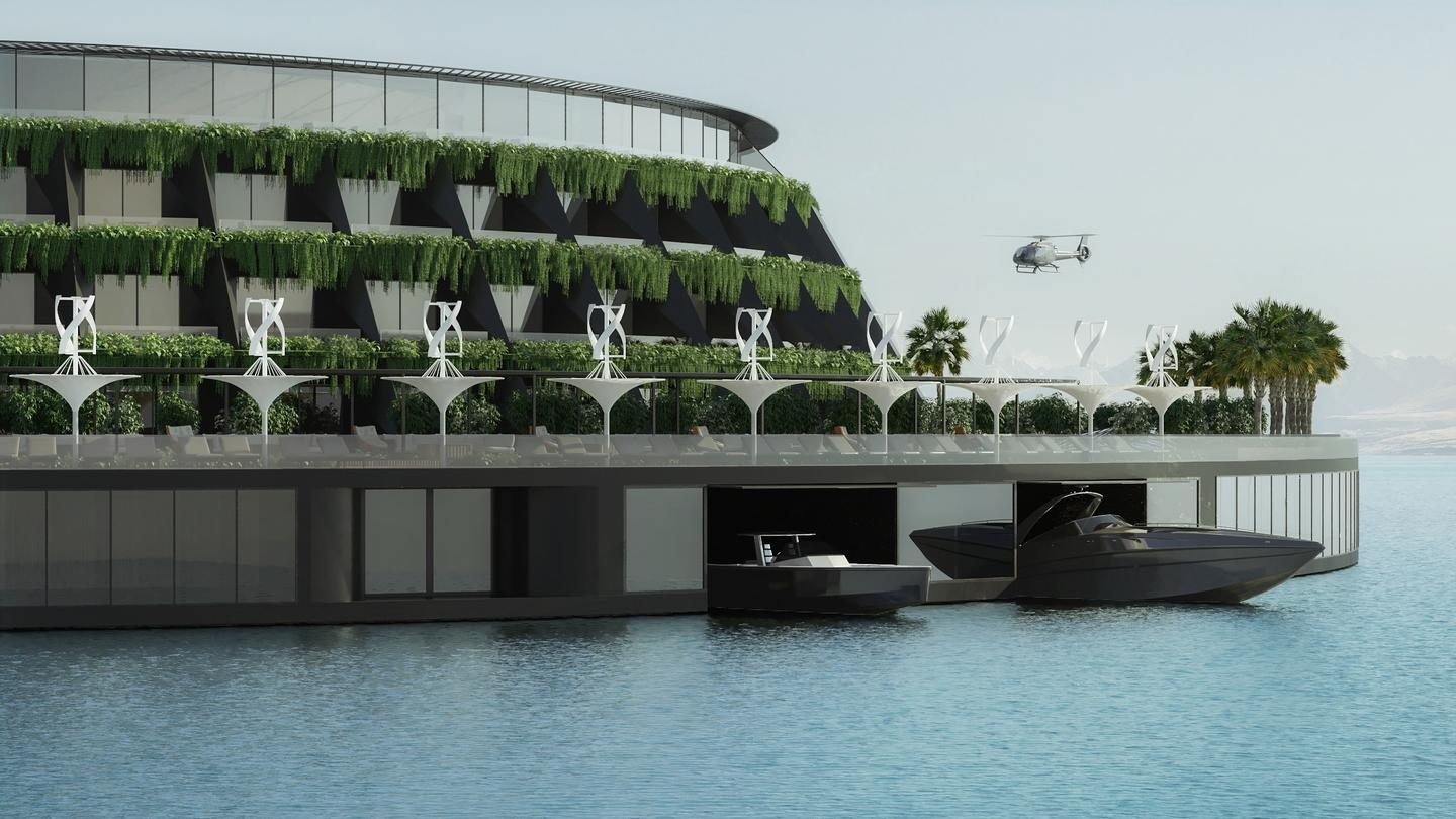 The Eco-Floating Hotel would get some of its power from wind turbines and solar panels