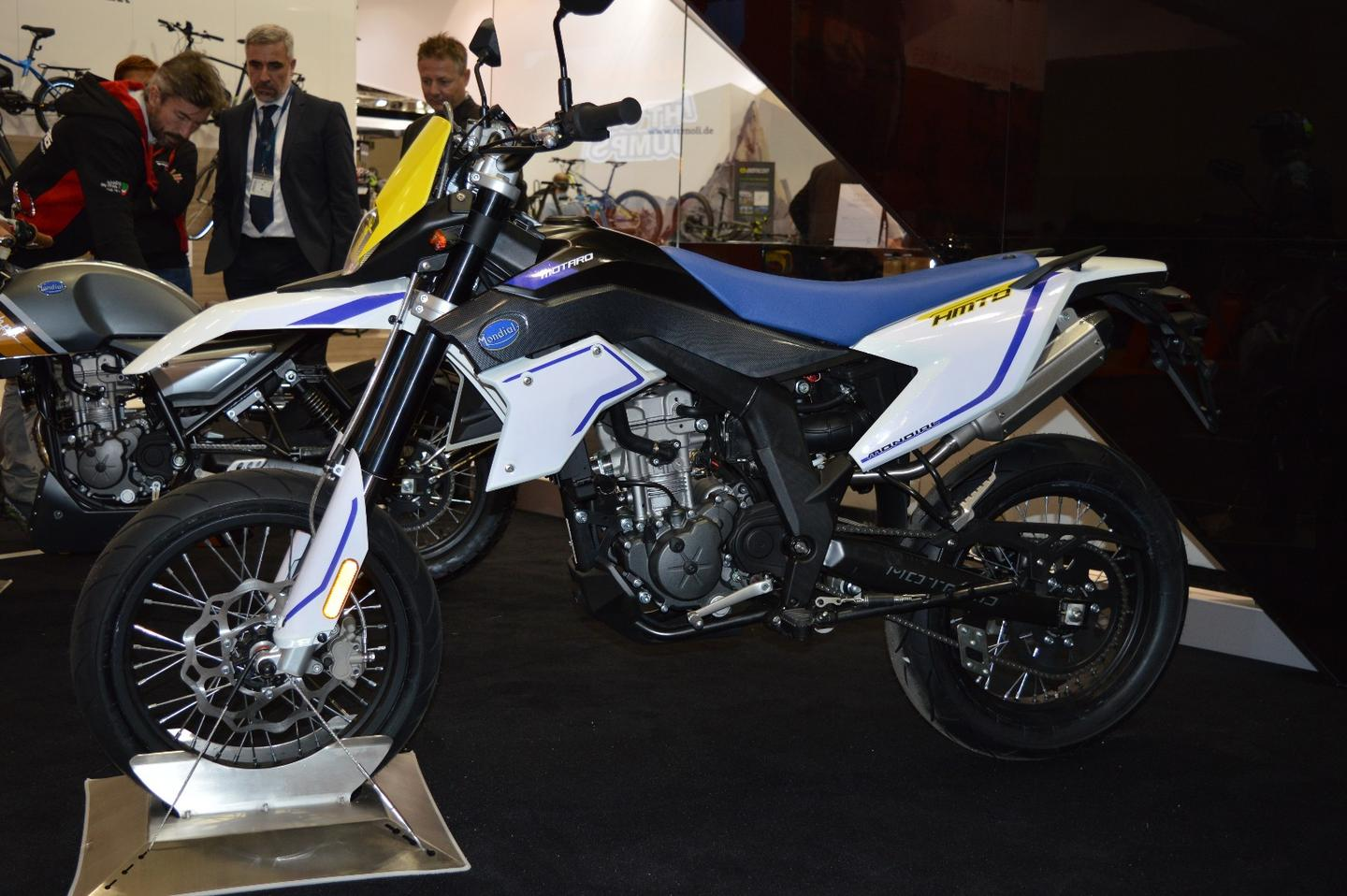 FBMondial occupied a small, dark corner at Intermot 2016to display the Hipster 125 and a new supermoto version built on the same base