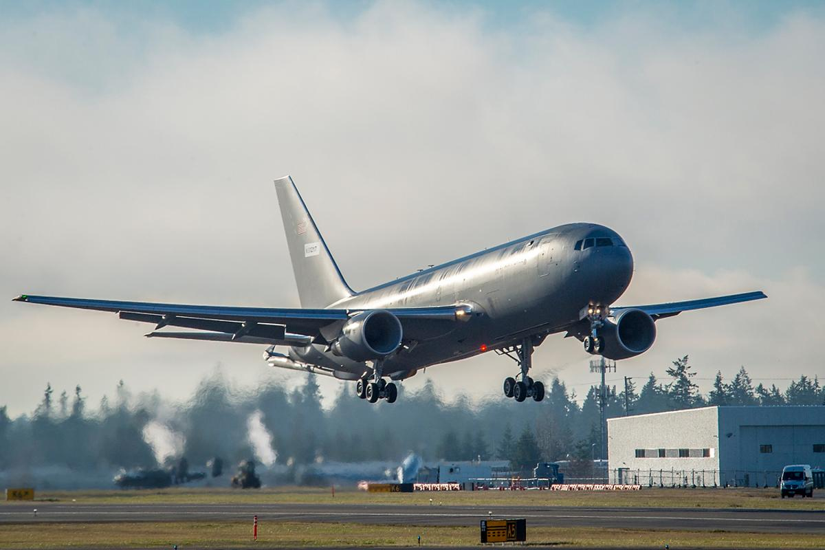 The first KC-46 tanker for the USAir Force takes off from Paine Field in Everett, Washington, on its maiden flight
