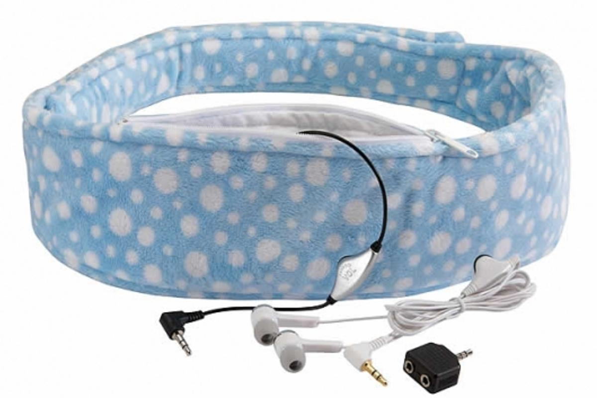 The Lullabelly comes with a set of headphones too so you can rock on with your little one