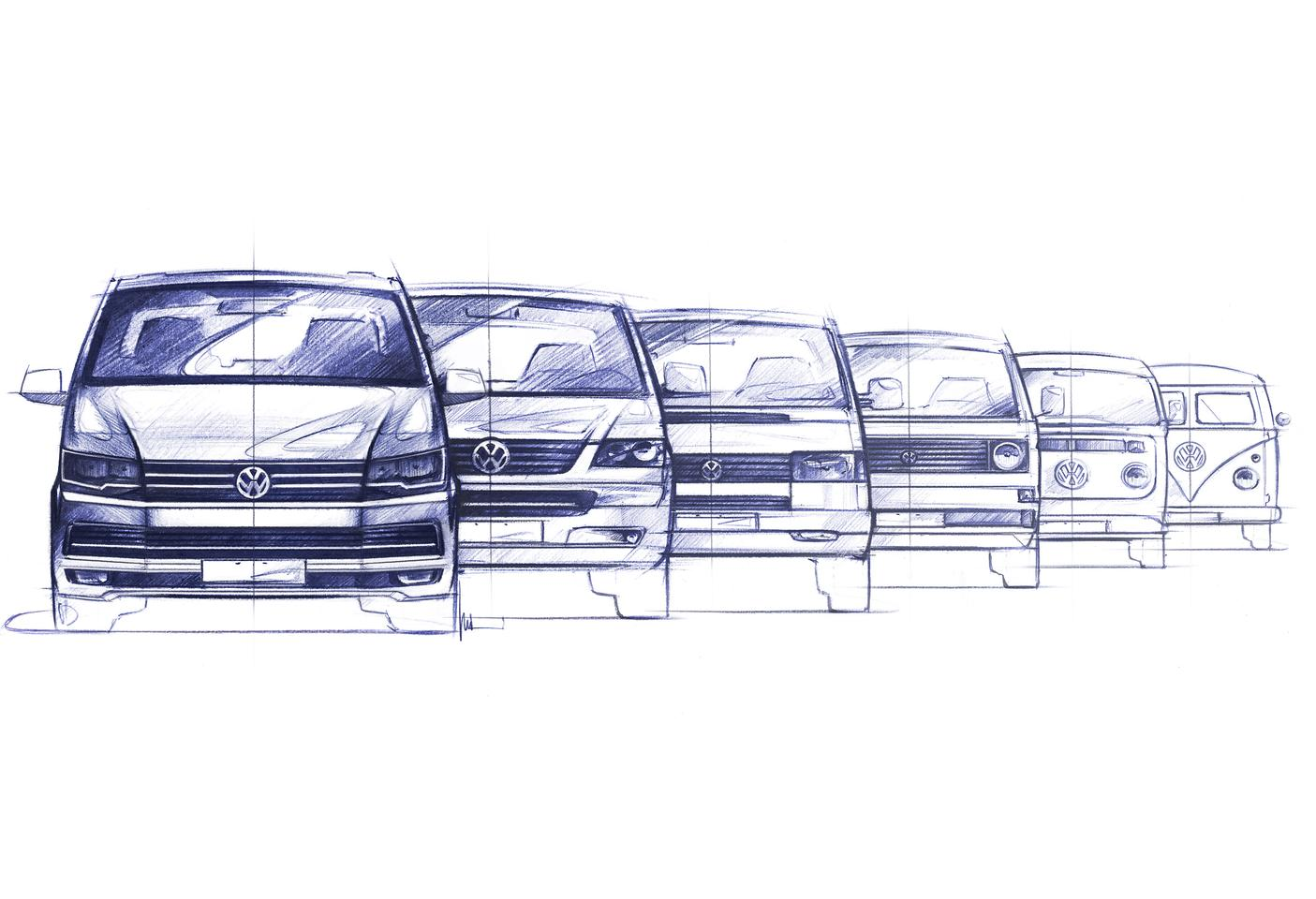 A sketch showing six generations of Transporter design