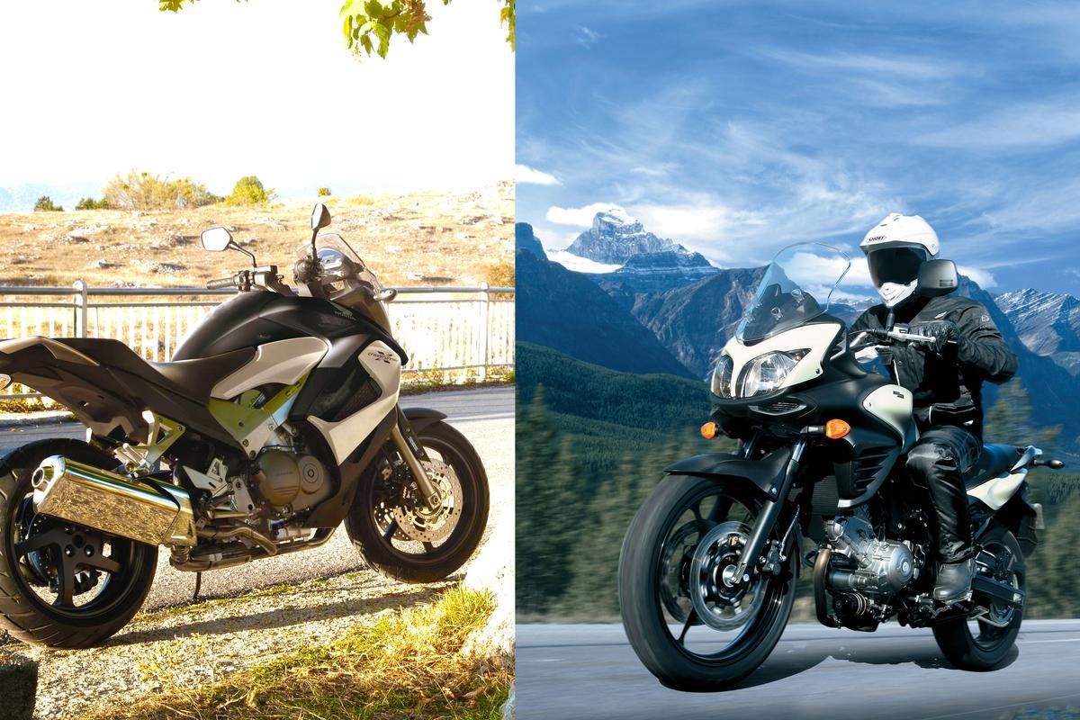 New middleweight adventure machines. Left: Honda Crossrunner. Right: Suzuki V-Strom 650 ABS