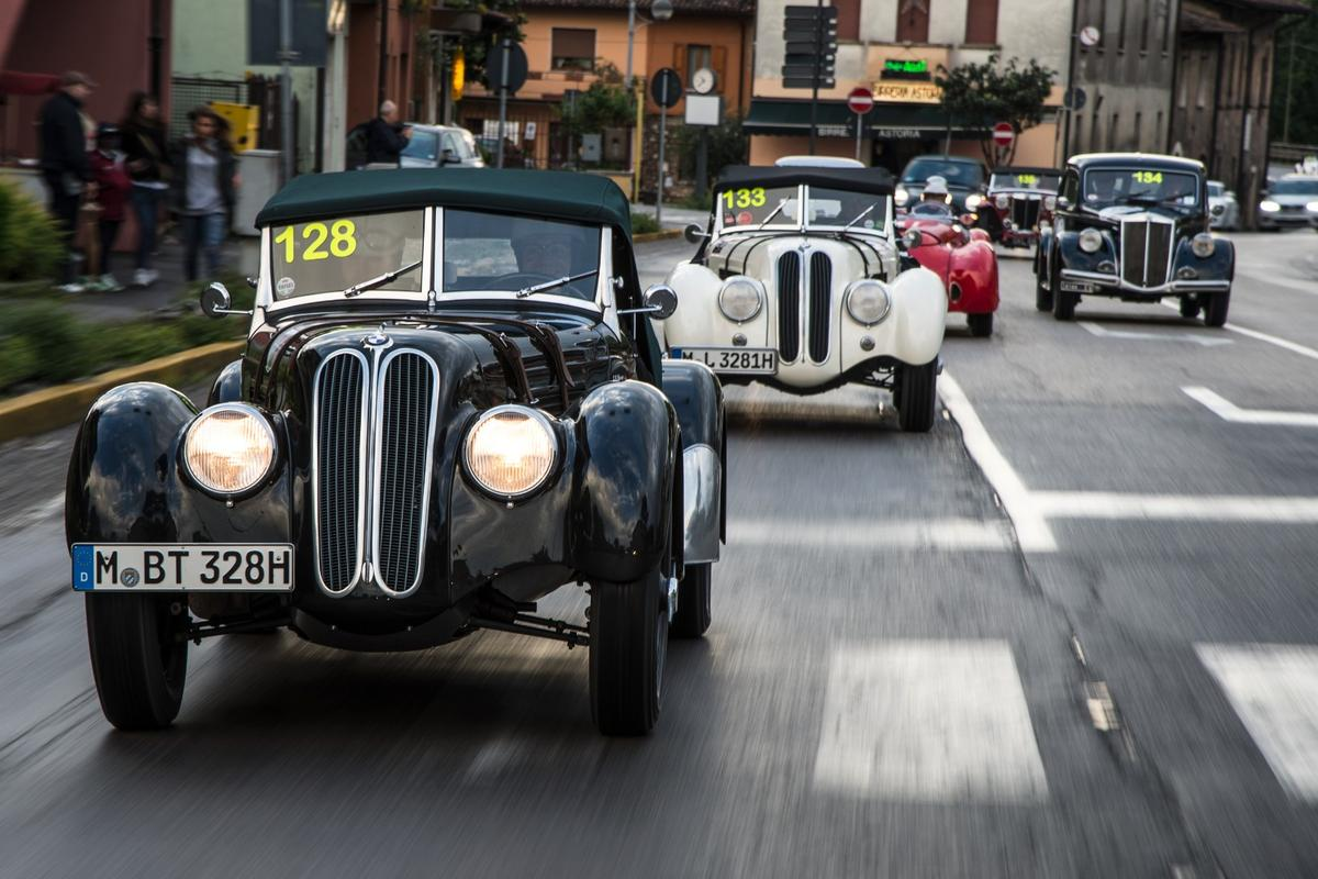100 years of BMW: A gaggle of 328s on the roads at the modern re-running of the Mille Miglia