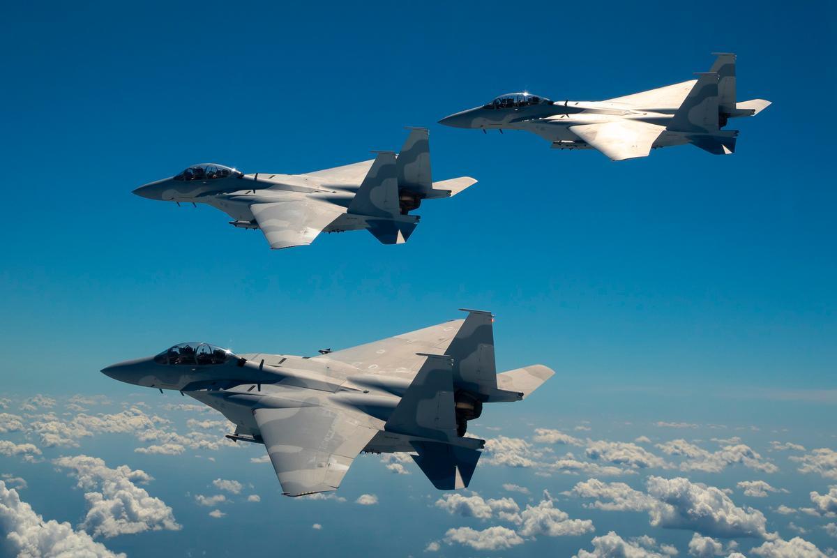 A trio of F-15QA fighters in flight